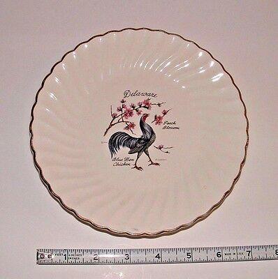 Delaware Blue Hen Chicken / Peach Blossom Decor Plate, Age Unknown, pre-owned