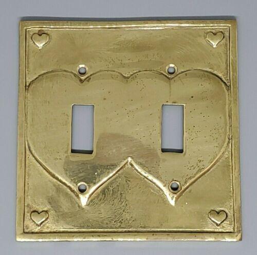Vintage Double Brass Light Switch Plate Raised Heart Design Upper Deck 1986