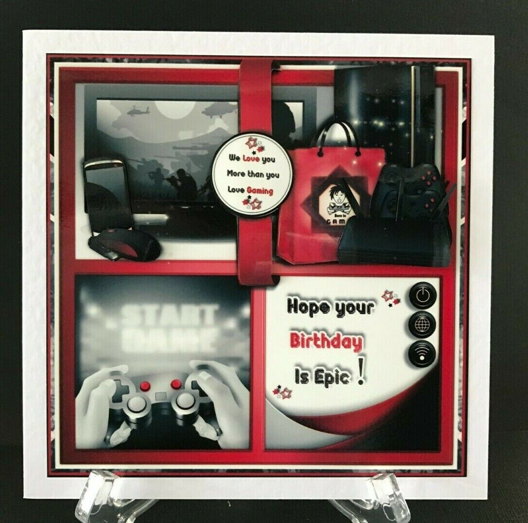 Computer Games - Gaming Video Computer Games Xbox Boys Teenager Male Handmade 3D Birthday Card