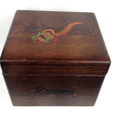vintage Huge wood recipe box full of clipped & written recipes rustic collectibl