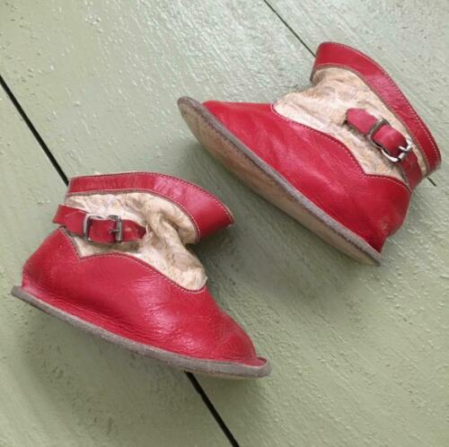 Antique Vintage Primitve Red White Leather Baby Shoes Western Boots with Buckles