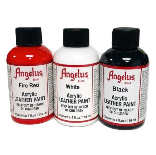 Angelus 4 oz Paint Trio, Black, White & Fire Red
