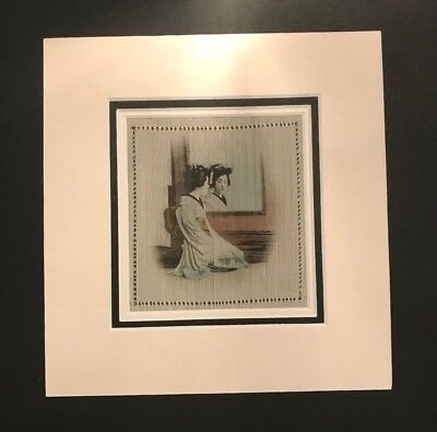 Hand Painted Silk Handkerchief Triple Mounted and framed #5