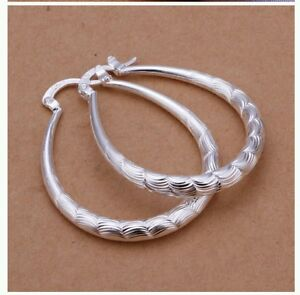 High quality Stainless steel Sterling Oval-shaped silver Earrings