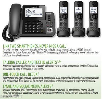 Panasonic KX Link2Cell Bluetooth Phone Cordless Corded DECT 6.0 Answering System