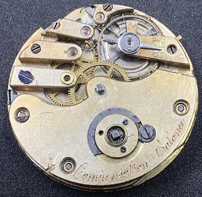 Compensation Balance Pocket Watch Movement 38 Mm Keywind 3 Finger Ticking F4311