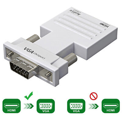 HDMI to VGA Adapter / Converter with Audio Support 1080P Signal Output  White