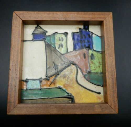 Vintage 1950s Harris G Strong Mid-century Modern Ceramic Tile 85 Framed
