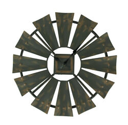 Zeckos Rustic Vintage Finish Metal Windmill Wall Clock