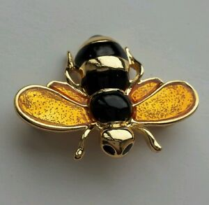 Little Bumble Bee Brooch Gold And yellow Enamel
