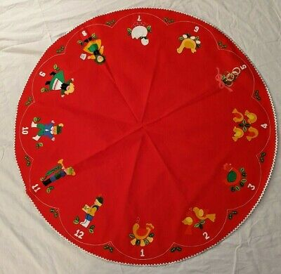 "VTG RED FELT CHRISTMAS TABLE COVER ""12 DAYS OF CHRISTMAS"" APPLIQUES - 45"" ACROSS"