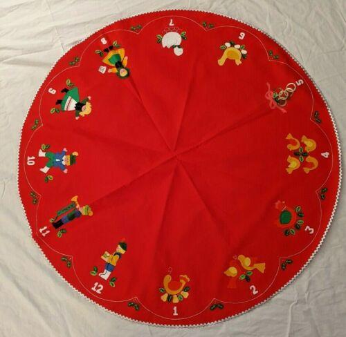 "VTG RED FELT CHRISTMAS TABLE COVER ""12 DAYS OF CHRISTMAS"" APPLIQUES - 45"" ACROSS"
