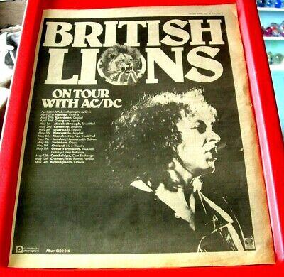 British Lions/AC/DC UK Tour Vintage ORIGINAL 1978 Press/Mag ADVERT Poster-Size