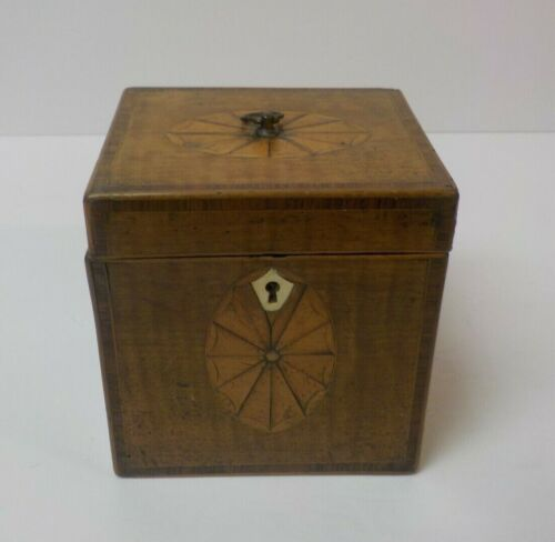 Mid-19th C. English Georgian Single Tea Caddy Box, Inlaid Decoration