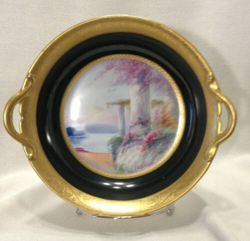 Rare Pickard E. Challinor Hand Painted Scenic Bowl With Handles