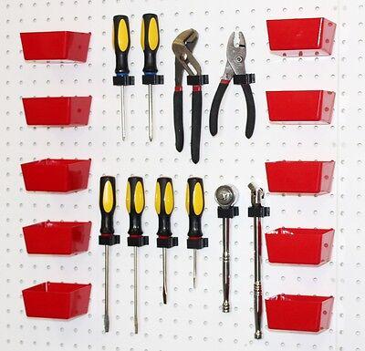 Red Pegboard Bins Peg Hooks - 20 Pc Set Garage Tool Board Craft Storage