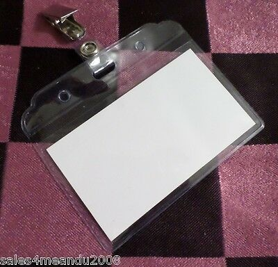 Lot Of 2 Clear Horizontal Plastic Id Card Badge Holder W Clip Work Or School