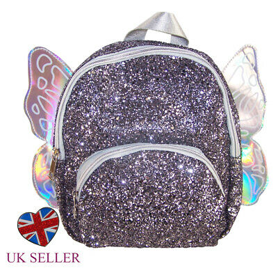 Girls Childrens Silver Glitter Sparkly Mini Backpack Rucksack Bag Angel Wings (Angel Wing Rucksack)