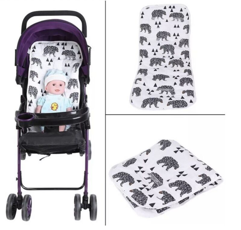 White Black Bear Universal Reversible Baby Seat/ Stroller Cushion Pad