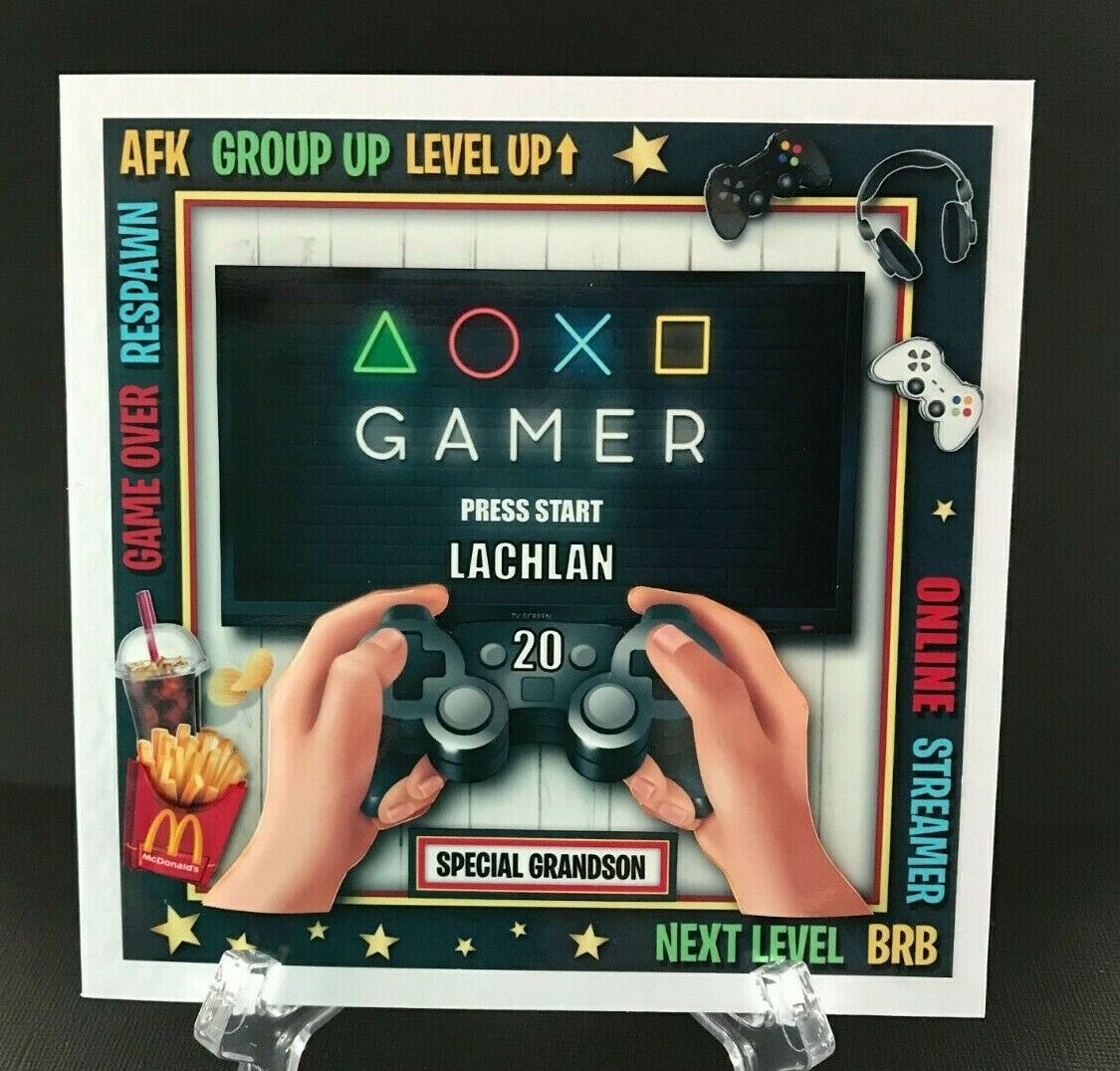 Computer Games - GamIng Video Computer Games PERSONALISED Grandson Son Handmade 3D Birthday card