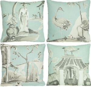 Home-Cushion-Pillow-Cover-Osborne-Little-Fabric-Palais-Chinois-Aqua-Blue-Printed