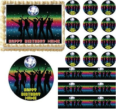 Disco Ball Cake Topper (DISCO DANCE Party Disco Ball Edible Cake Topper Image Frosting Sheet Cake)