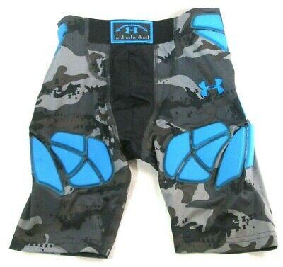 NEW UA Youth Football Girdle Heat Gear Gray Camo/Electric Blue Size Youth Medium