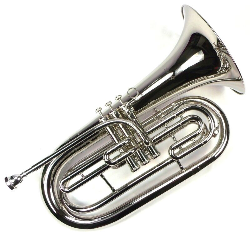 Advanced Monel Pistons Marching Baritone Key of Bb w/ Case Nickel Plated Finish