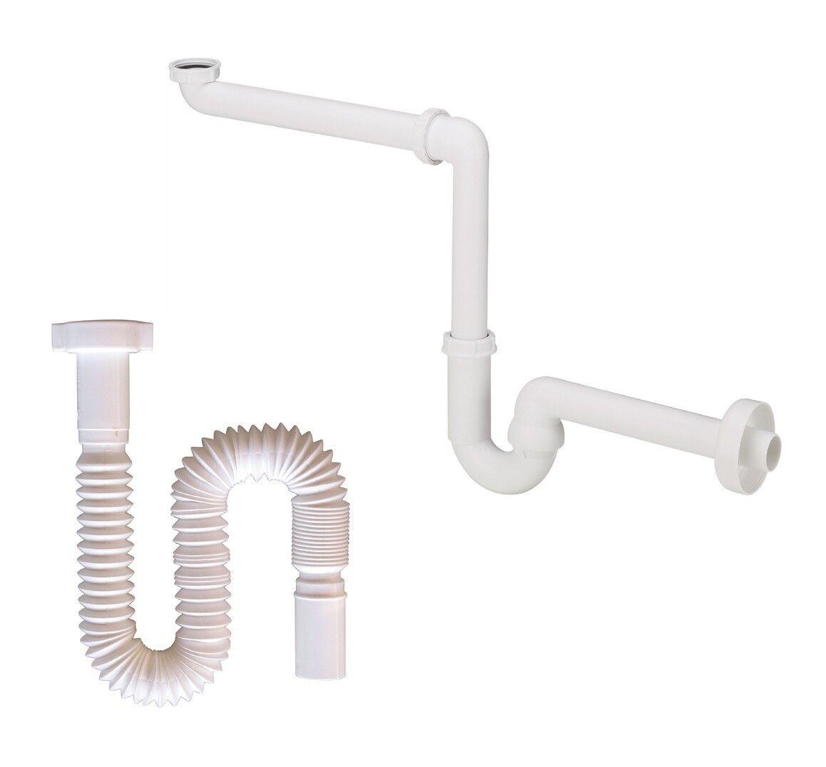 Geruchsverschluss für Waschbecken Siphon Sifon Flexibel Raumspar-Siphon 11/4 NEU