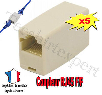 Lot de 5x Adaptateur Coupleur rallonge RJ45 -5x RJ45 Ethernet adapter coupler ff