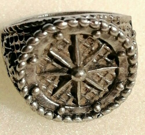 Ancient Medieval Metal Color Silver Ring Rare Amazing - Size 20 mm