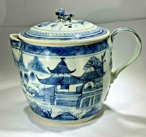 Antique 19th Century Large Small Spout Canton Porcelain Tea pot