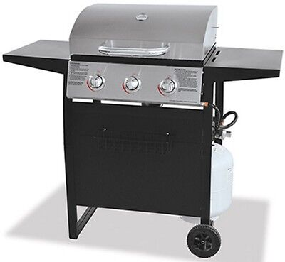Gas Grill 3 Burner LP Barbecue Outdoor Cooking Stainless Steel Backyard Patio
