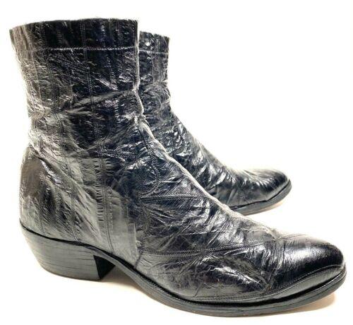 vtg 50s 60s Tony Lama Genuine Eel Skin Beatle Boot Zip-Up Ankle Western 10.5 D