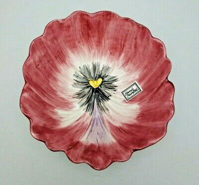 Maroon Fitz & Floyd April Flowers Coupe Cereal Bowl Pansy 6