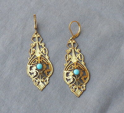 Vintage Deco Gold Tone Filigree Turquoise Glass Drop Dangle Earrings