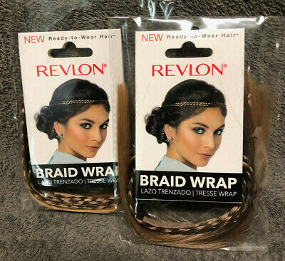 Lot of 2 New Revlon Frosted Braided Hair Wraps Boho Hippie