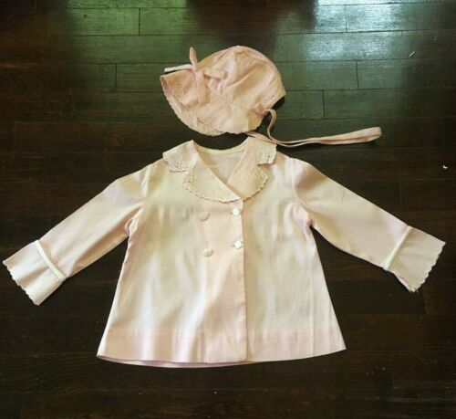 Vintage 1940s Pink Baby Jacket and Bonnet Handmade Embroidered Collar