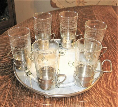 WMF Set (6) Deco Silver Chrome Tea Glass Holders w/ Etched Inserts Ostrich Mark