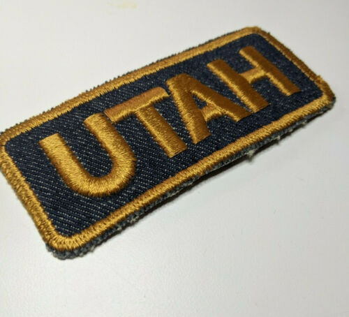 Vintage, Embroidered Denim, Utah Biker Motorcycle Patch, Blue and Gold Rectangle