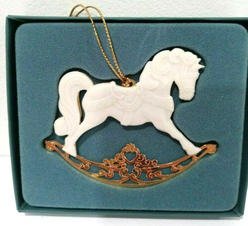 BOXED 1994 LENOX ROCKING HORSE GOLD TRIM CHRISTMAS ORNAMENT Made U.S.A.