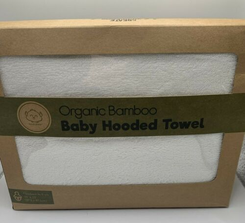 """Extra Soft Organic Bamboo Hooded Baby Towel Absorbent Fast Dry White 35x35"""""""