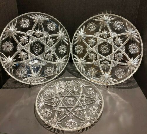 """ANCHOR HOCKING STAR OF DAVID 11"""" or 13.5"""" ROUND SERVING CAKE PLATE PLATTER TRAY"""