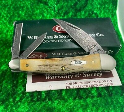 case xx STAG DAMASCUS WHITTLER knife 2008 first open great stag unused mint wow