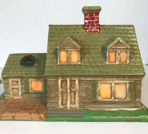 Vintage Byron Mold Ceramic Christmas Village Farm House Light Up Hand Painted