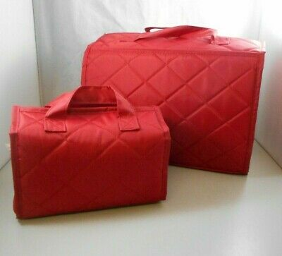 HSN Better Beauty Make Up Travel Jewelry Case Quilted Red  2-piece Set New