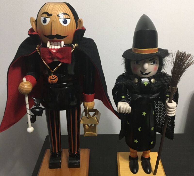 Lot of 2 Wooden Halloween Nutcrackers-Dracula and Witch Used