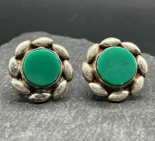 Vintage 925 Sterling Silver Screw Back Earrings Flowers Green Glass Mexico