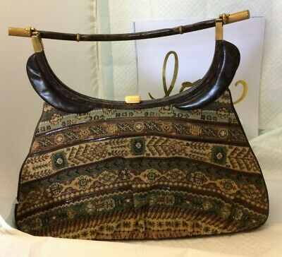 1950s Handbags, Purses, and Evening Bag Styles Rare Vintage Harry Rosenfeld Tapestry & Leather Hand Bag/Purse Large 1950's $178.99 AT vintagedancer.com