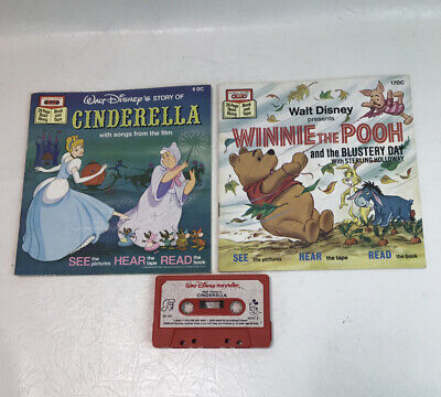 Vintage Walt Disney Cinderella and Winnie The Pooh Books & Tape Read Along